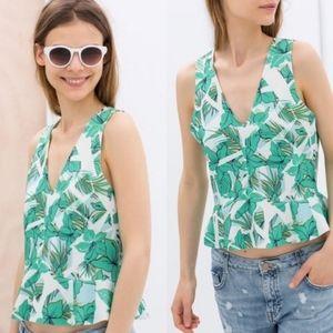 Zara Trafaluc Tropical Leaf Print Peplum Top, M